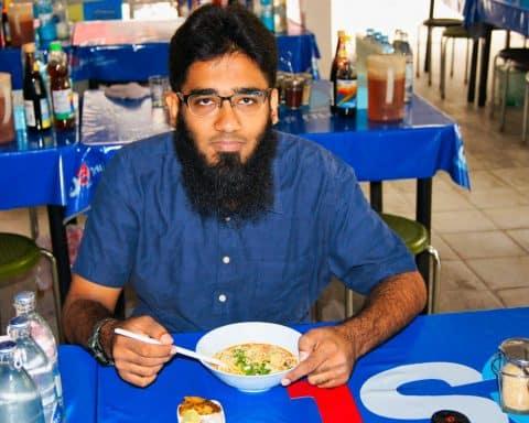 Eating Coconut Milk Noodles at Halal Street Hilal Town