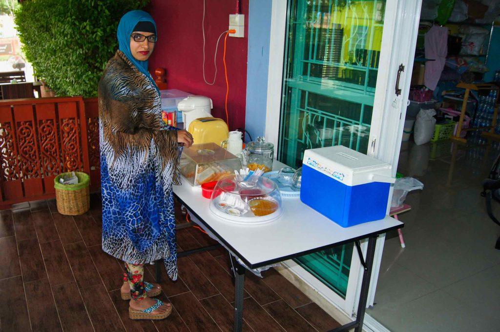 Hijab Muslim Girl on Honeymoo & Making Breakfast at Q Zone Boutique Hotel