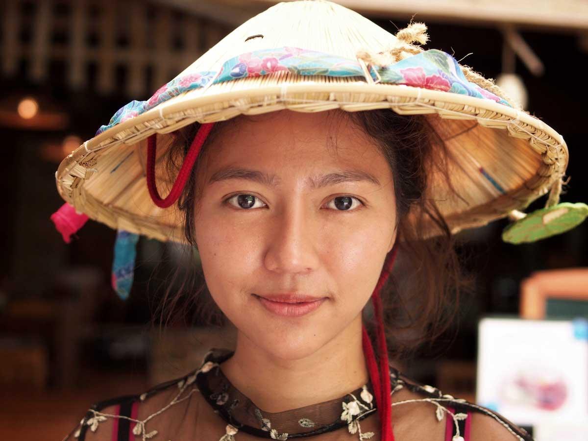 Vietnamese Girl Leaf Hat Portrait